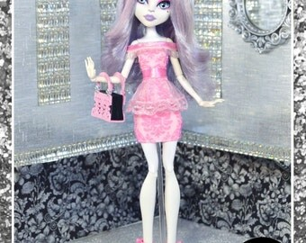 """Monster Doll """"Pretty in Pink"""" high fashion outfit clothes dress"""