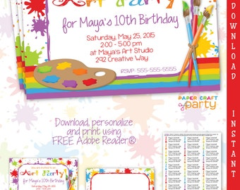 Art Party Invitation - Thank You Note -  Address labels DIY Printable
