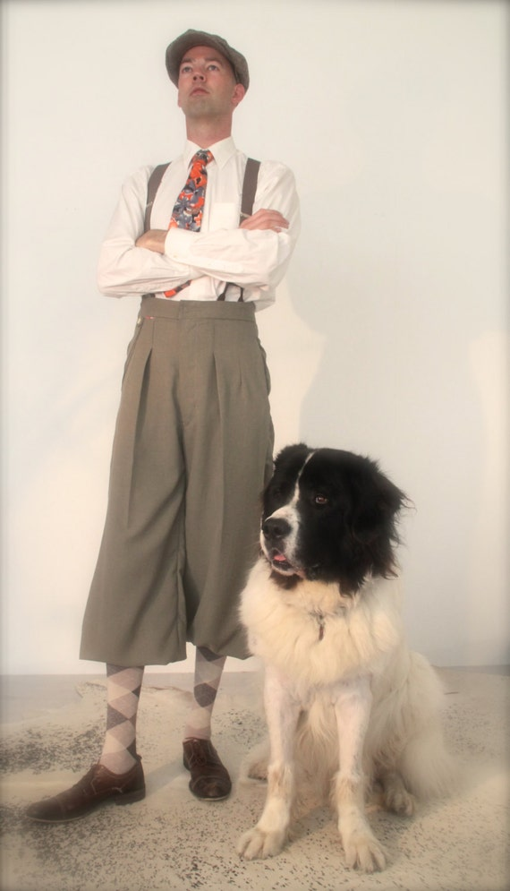 Edwardian Men's Pants, Trousers, Overalls Vintage style plus fours 1920s knickerbockers retro mens trousers Tintin trousers $276.30 AT vintagedancer.com
