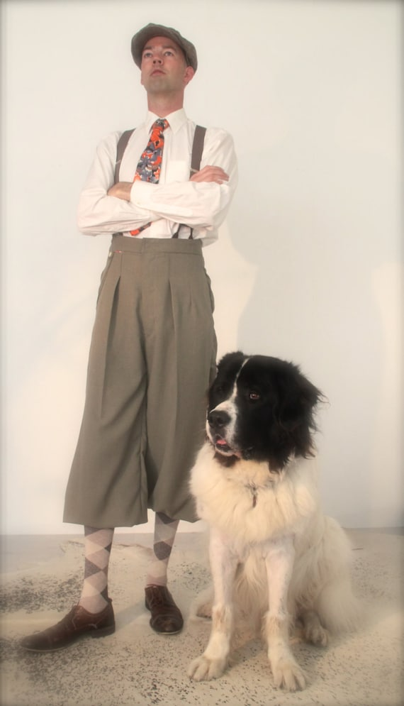 Edwardian Men's Pants Vintage style plus fours 1920s knickerbockers retro mens trousers Tintin trousers $276.30 AT vintagedancer.com