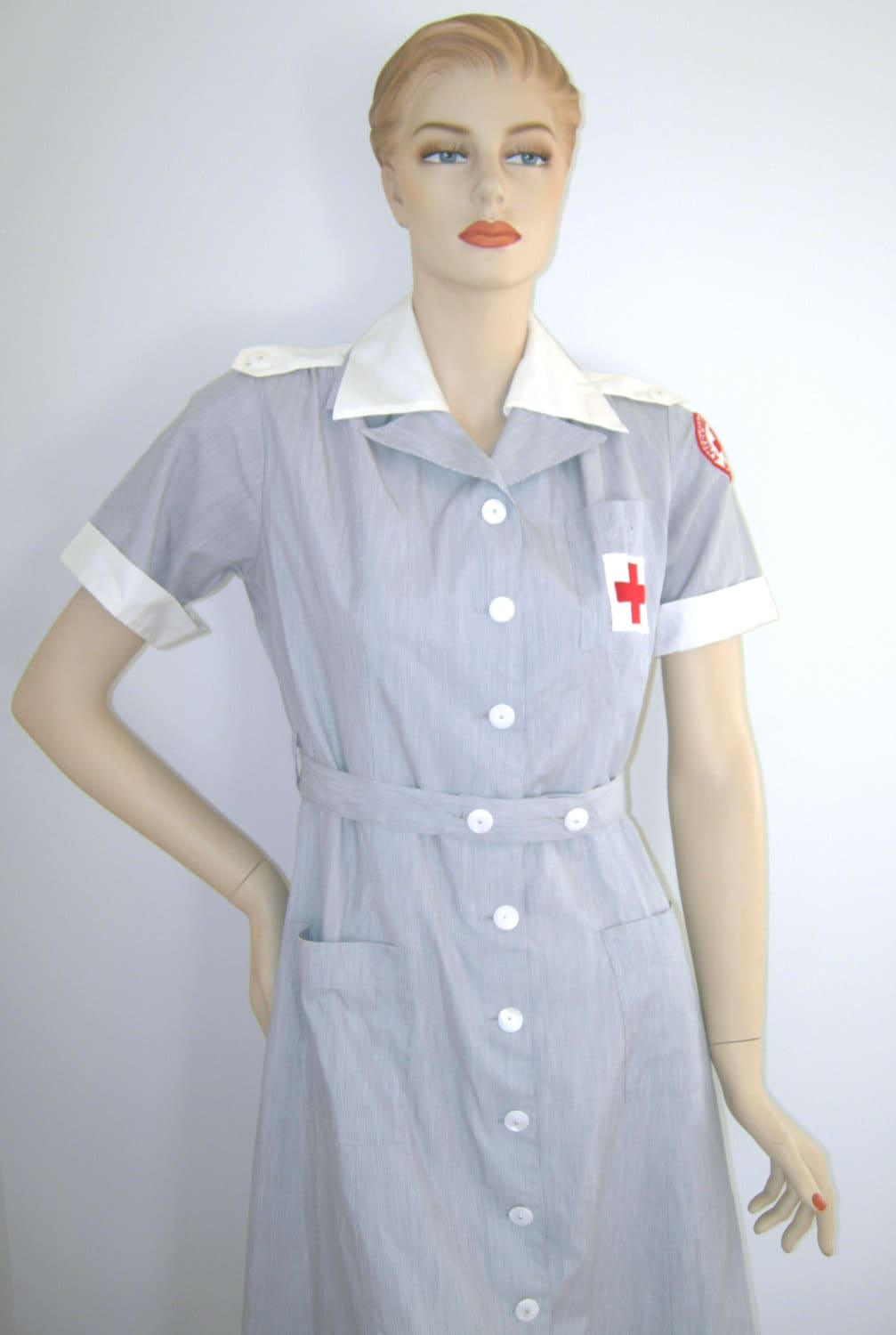 White pinafore apron nurse - Wwii Vintage 1940s 1950s American Red Cross Uniform Volunteer Nurse Military Dress Matching Red Cross Hat Grey White Heather Vintage Size 12