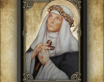 Saint Catherine of Siena Wood Plaque & Holy Card GIFT SET, Catholic Saint #3067