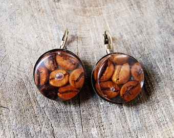 Coffee bean resin earrings. Handmade resin statement earrings. Coffee bean jewelry. Coffee jewelry. Handmade earrings. Resin jewelry.