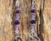 Amethyst Om Earrings - Om Earrings, Om Jewelry, Om, Amethyst Earrings, Yoga Jewelry, Yoga Earrings, Meditation, Chakras, Reiki, Boho jewelry