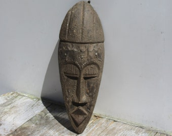 Authentic Ashanti Carved Wooden Mask With Detailed Tin Work African Tribal Wall Mounted Decor