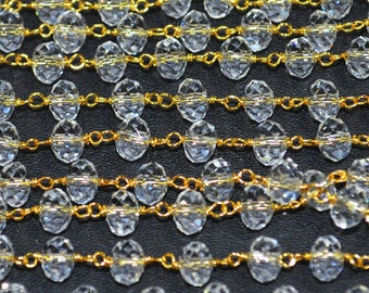 Clear Crystal Quartz 6 mm rondelle faceted Rosary Style Beaded Chain - Clear Crystal Quartz Beads Gold wire wrapped chain