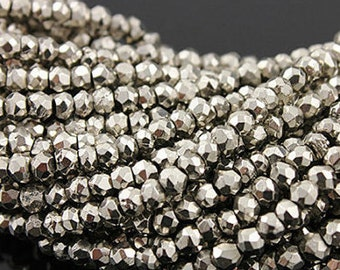 2 Strands of Silver Pyrite Roundel Faceted 6 mm- 13 inch