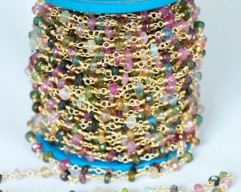 1 foot Super Fine Quality Multi Tourmaline Faceted Rosary Chain , Tourmaline Beads Gold Wire Wrapped Chain , R82
