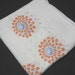1950s Vintage Beautiful Cotton Print Bridge Tablecloth with Orange and Blue Mums on White Background, ~~by Victorian Wardrobe