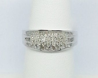Diamond .52ctw Round, And Baguette, 10k White Gold Ring Size 6