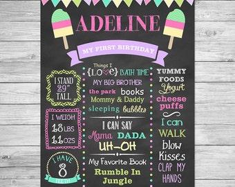 First Birthday Chalkboard of Favorite Things Printable Poster, First Birthday Chalkboard Sign - Popsicle