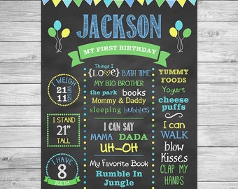 First Birthday Chalkboard of Favorite Things Poster -16x20 - Birthday Chalkboard Sign - Style Z