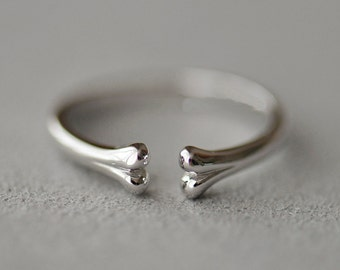 925 Sterling Silver Bone Silver Ring 876