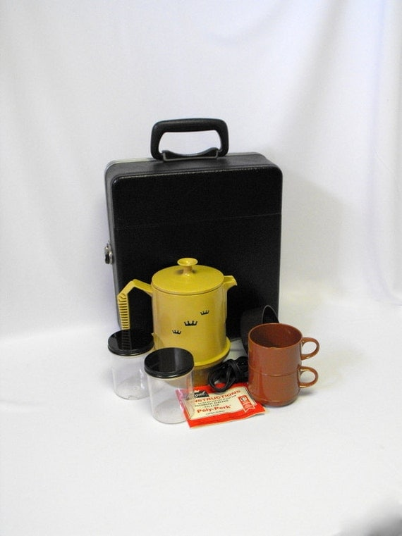 Coleman Portable Coffee Maker Carrying Case : Vintage Coffee Set with Carrying Case Portable Electric