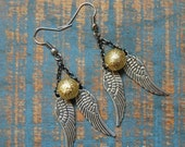 Mixed Metal Angel Wing and Gold Bead Earrings, Winged Bead Earrings, Angel Wing Jewelry, Gunmetal Silver Gold
