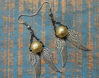 Mixed Metal Angel Wing and Gold Bead Earrings