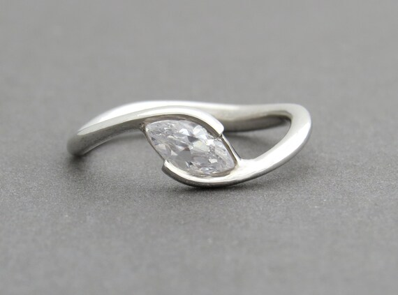 Unique Engagement Ring Marquise Engagement Ring Gemstone Engagement Ring H