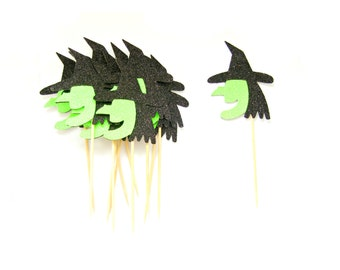 12 Witch Head Cupcake Toppers -  Halloween Cupcake Toppers, Halloween Party, Halloween Decorations, Witch Party