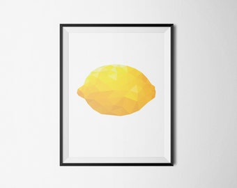 Printable poster, Instant download, Lemon poster, Geometric poster, Kitchen poster, Kitchen art, Fruit poster, Christmas gift, Nursery print