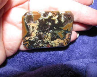 Priday Plume rare Agate Cabachon Cut Corner Rectangle LARGE 43mm. x 34mm. (1 and one third, by 1& three quarters inches) LOOSE unset CAB