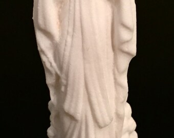 Virgin Mary Blessed Mother Statue All White Grainy Texture