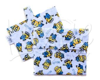 Reusable Sandwich Bag & Reusable Snack Bag Set in MINION TOSS print - Velcro - ECOfriendly - Food Safe - Dishwasher Safe - Back to School