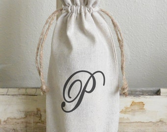 Initial Wine Bag_personalized, wine, present, party favor, wedding favor, gift bag, party, hostess gift