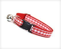"""Cat Collar - """"Sunday Picnic"""" - Red and White Gingham Check / Plaid"""