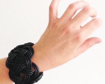 Braided Black Leather Cuff