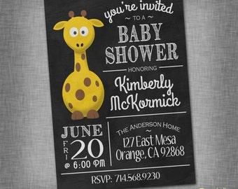 Giraffe Chalkboard Baby Shower Invite