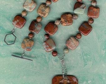 On Time - Carved Succor Creek Jasper Big Ben Pendant, African Opal Jasper, Smoky Quartz, Sterling Silver Necklace