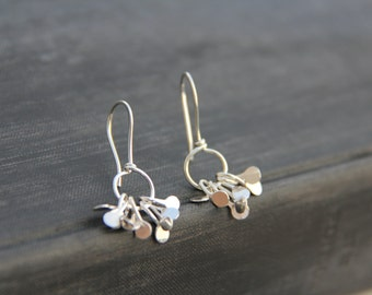"""Small sterling silver or copper dangle earrings """"Dancing rain"""", dots, petals, molten drops, hammered, everyday, minimalist, silver 925, coin"""