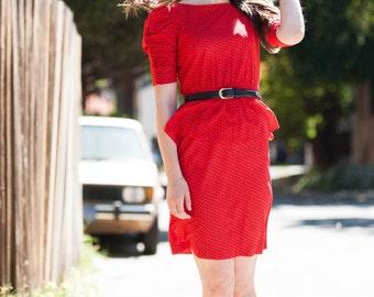 80's Polka Dot Peplum Dress
