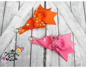 Fish  Ribbon Sculpture Hair Clip. Pink Fish Hair Clip.