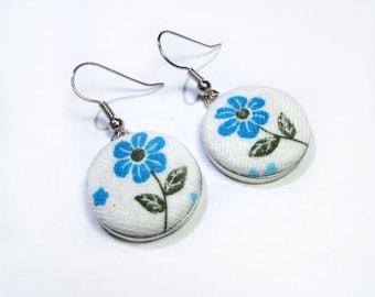 Dangle flower Earrings, light blue and White flower Fabric Covered Buttons Earrings, brass earrings, romantic earrings, drop earrings