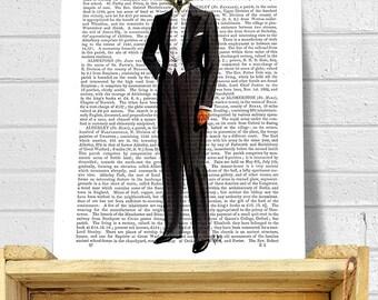 Fox Evening Suit Full, Fox Tuxedo Art Print wall art wall decor Wall Hanging Fox Print fox picture fox illustration fox painting fox in suit