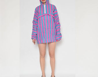 Vintage 80's Neon Hooded Running Jumper