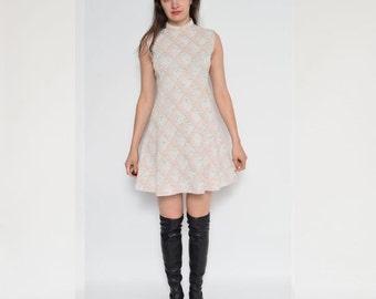Vintage 70's Argyle Sleeveless Mini Dress