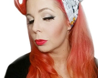Mickey Mouse Newspaper Headwrap Bandana Hair Big Bow Tie 1940s 1950s Vintage Style Pinup disneybounder