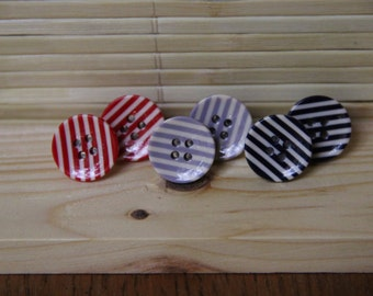 Red,Gray, and Blue Striped Button Stud Earrings