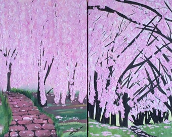 Cherry Blossoms Original Painting Set of Two