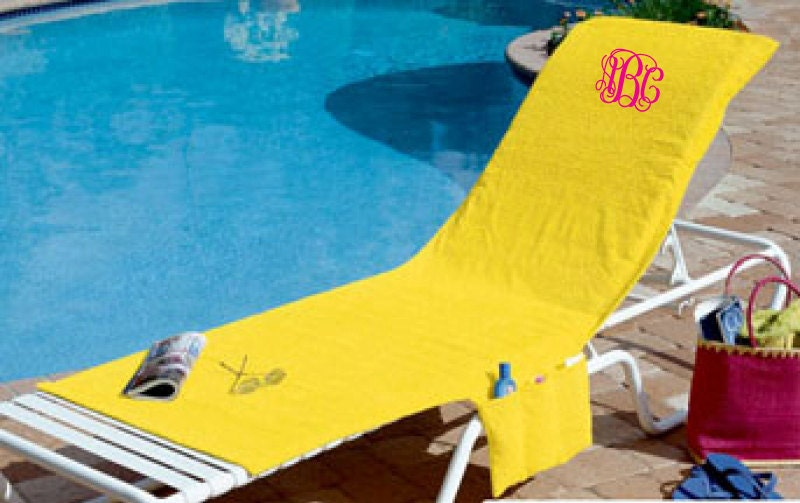 Monogrammed beach lounge chair cover towel by SouthernSpiritGifts