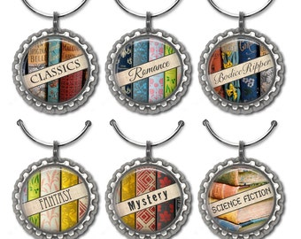 Book club gift wine glass charms book party favors literature drink tags.