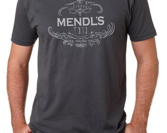 Men's' Mendl's logo with tools Grand Budapest inspired T shirt