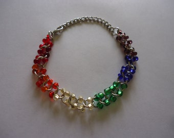 Personalized Rainbow Seed Bead Charm Bracelet FREE SHIPPING to USA