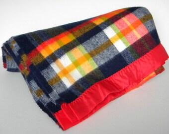Vintage Plaid Blanket Red, Yellow, Blue