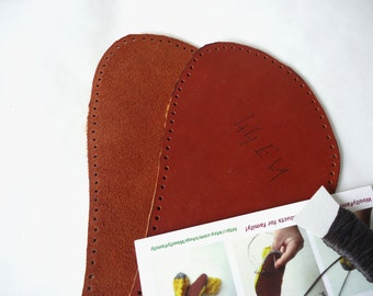 Large leather soles, 41-48EU adult natural leather soles, brown-orange soles, cattle leather soles for slippers