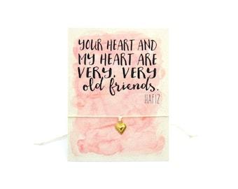 Best Friend Wish Bracelet, Heart Bracelet, Best Friend Gift, BFF, Best Friend Bracelet, Make A Wish, Best Friend Jewelry, Hafiz Quote, Heart
