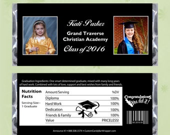 Photo Graduation Candy Bar Wrappers - Graduation Candy Wrapper Party Favors (with foil)