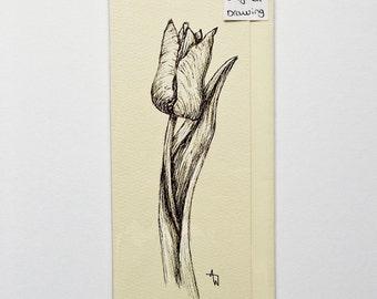 Hand drawn Spring Tulip Flower ORIGINAL drawing greetings card